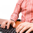 Man typing in the computer keyboard and using a mouse — Stock Photo