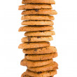 Pile of chocolate chip cookies isolated on white background — Stock Photo #13316834