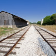 Converging tracks in an abandoned train station — Stock Photo