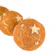 Royalty-Free Stock Photo: Three christmas balls hanging and isolated on white