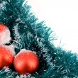 Christmas balls over decorative ribbon — Stock Photo #13318817