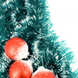 Stock Photo: Christmas balls over decorative ribbon