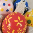 Real hand painted Easter eggs in box — Stock Photo