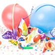 Party hats, horns or whistles, confettis and balloons on white background. — Stock Photo #13319215