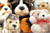 Pile of plush animals with dogs and teddies — Stock Photo