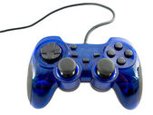 Blue video game controller detail for console — Stock Photo