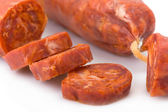 Sliced Iberian chorizo, from Barrancos - Alentejo region, Portugal (Chouriço) — Stock Photo
