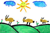 Real child drawing (7 year old) portraying a rural scene — Stock Photo