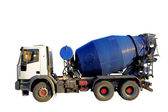 Blue Cement Mixer Truck isolated on white. — Stock Photo