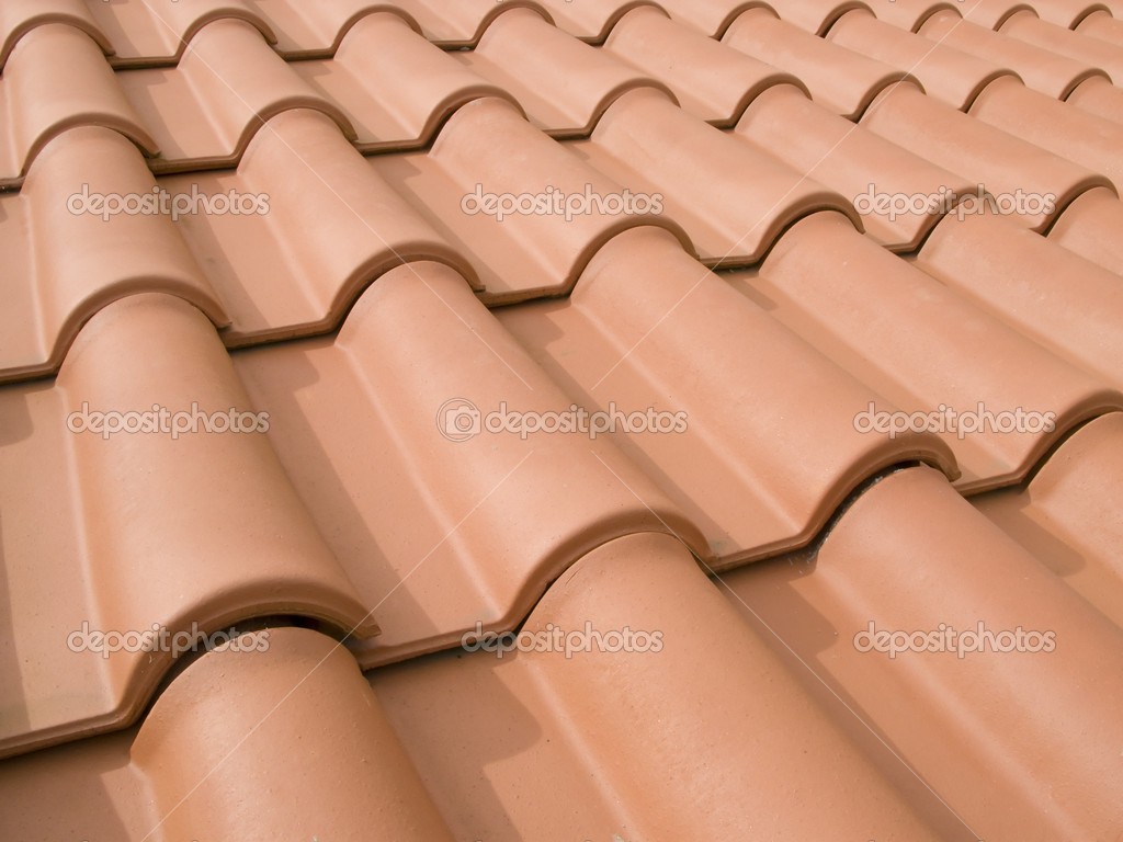 New orange roof tiles close up detail — Stock Photo #13312891