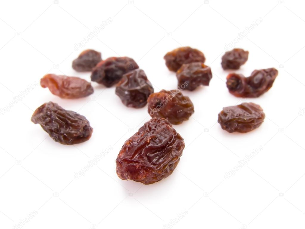 Twelve raisins for New Year wish isolated on white — Stock Photo #13317445