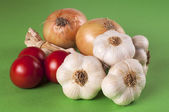 Garlic, tomato and onion — Stock Photo