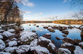 Lakescape with First Snow — Stock Photo