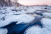 Icy Sunset on the River — Stock Photo