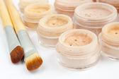 Mineral make-up, brushes, powder, blush, eye shadows — Stock Photo