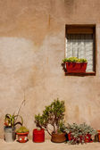 Stone house and flowerpots, Spain — Stock Photo
