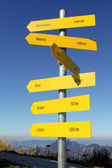 Directions and distances sign in austrian Alps, Salzburg — Stock Photo