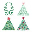 Four christmas trees in vector — Stock Vector #13539058