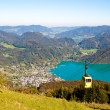 Cableway and a view  of St. Gilgen near Wolfgangsee — Stock Photo