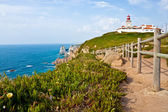 Lighthouse and Atlantic ocean at cabo da Roca — Stock Photo