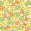 Citrus hearts seamless pattern — Stock Vector