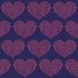Hearts made of roses seamless pattern — Imagen vectorial
