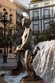 Jednym z rzeźby fontanny turia w walencji — Zdjęcie stockowe