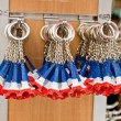 Eiffel tower key rings in a souvenir shop, Paris — Stock Photo