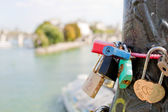 Padlocks on the bridge of arts in Paris — Foto de Stock
