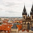 The Church of Mother of God in front of Tyn and the city of Prag — Stock Photo