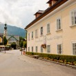 Mozarthouse and a street in St. Gilgen — Stock Photo