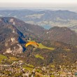 Paragliding over St. Gilgen and mountains — Stock Photo