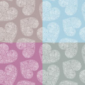 Set of 4 pastel seamless patterns with ornate hearts — Stock Vector