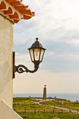 Streetlight on a wall and a view of Cabo da Roca (Cape Roca) — Stock Photo