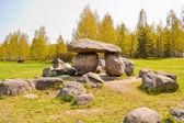 Dolmen in geological park-museum of boulders in Minsk, Belarus. — Stock Photo
