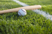Baseball bat and ball in grass by field stripe — Stock Photo