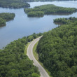 Aerial view of Mississippi River in northern Minnesota - Stock Photo