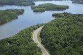 Letecký pohled na mississippi řeka v severní minnesotě — Stock fotografie