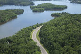 Mississippi nehri'nin kuzey minnesota'da havadan görünümü — Stok fotoğraf