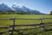 Horse ranch field and fence below Grand Teton mountains of Wyomi — Stock Photo