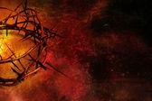 Karanlık grunge kırmızı zemin üzerine dikenli taç — Stok fotoğraf