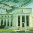federal reserve building with twenty dollar bill on grunge textu — Stock Photo