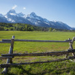 Horse ranch field and fence below Grand Teton mountains of Wyomi — Stockfoto