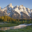 Grand Teton mountains with stream in morning light — Stock Photo #21008707