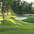 Golf green and tee box in late afternoon sunlight — Stock Photo #21009499