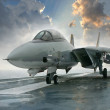 F-14 jet fighter on an aircraft carrier deck beneath dramatic cl — Stock Photo