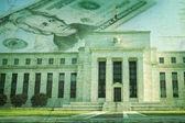 Federal Reserve building with twenty dollar bill on grunge textu — Stock Photo