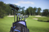 Golf bag and clubs against defocused course background — Stock Photo