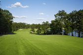 Golf fairway lined with trees near lake — Stock Photo