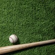Overhead view of baseball and bat on green turf - Stock Photo